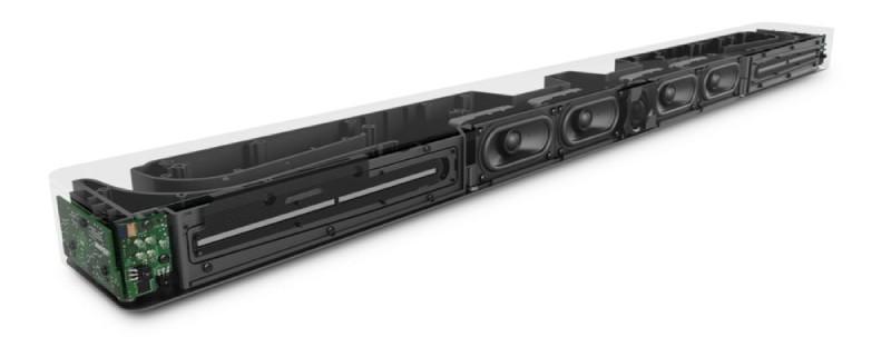 Bose Soundbar 700 lại được trang bị 7 củ loa bao gồm 1 woofer, 4 mid và 2 tweeter